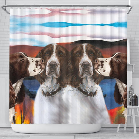 English Springer Spaniel Print Shower Curtain-Free Shipping