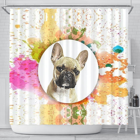 French Bulldog Print Shower Curtain-Free Shipping