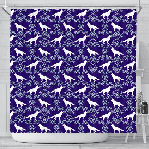 German Shepherd Dog Floral Print Shower Curtains-Free Shipping