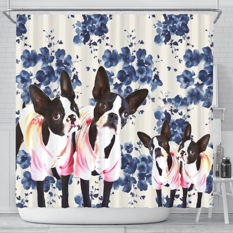 Boston Terrier Floral Print Shower Curtain-Free Shipping