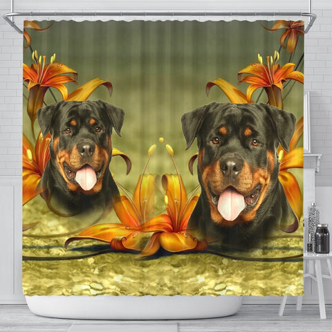 Lovely Rottweiler Dog Print Shower Curtains-Free Shipping