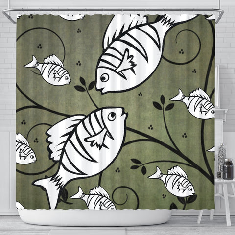 White Fish Print Shower Curtain-Free Shipping