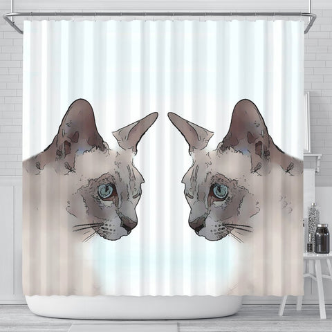 Tonkinese cat Print Shower Curtain-Free Shipping
