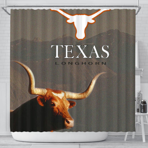 Texas Longhorn Cattle (Cow) Print Shower Curtain-Free Shipping