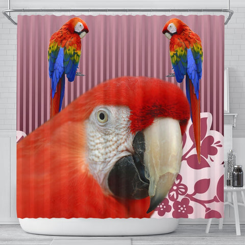 Scarlet macaw Parrot Print Shower Curtain-Free Shipping