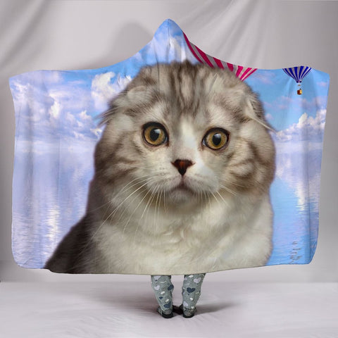Cute Scottish Fold Cat Print Hooded Blanket-Free Shipping