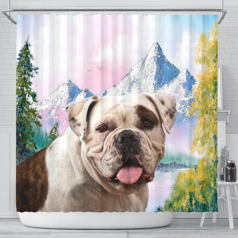 American Bulldog Print Shower Curtains-Free Shipping