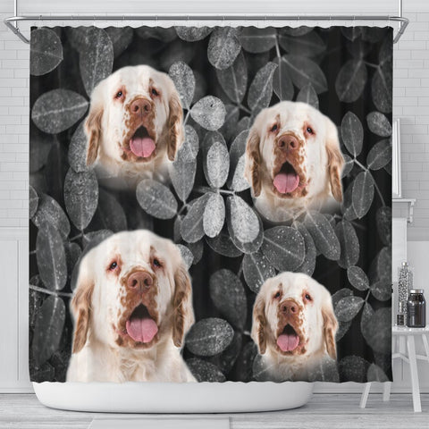 Clumber Spaniel On Black Print Shower Curtains-Free Shipping