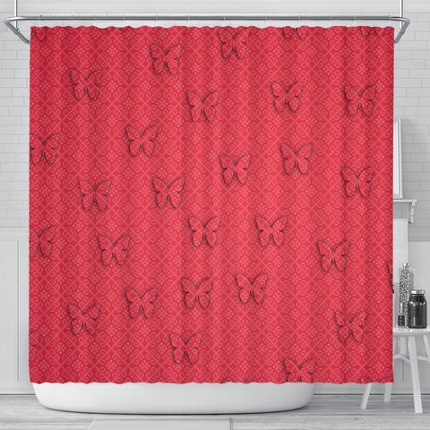 Butterfly Print On Red Shower Curtain-Free Shipping