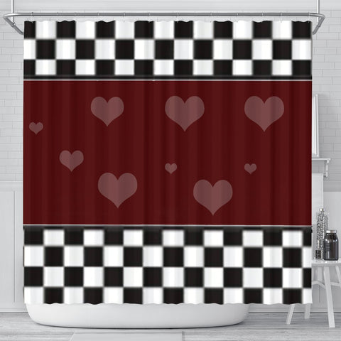 Lovely heart Print Shower Curtain-Free Shipping