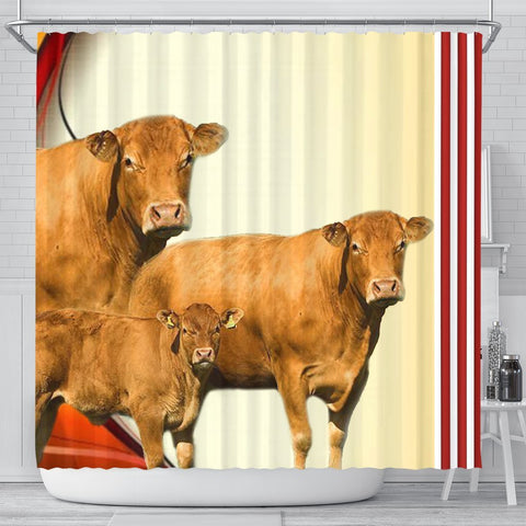 Limousin Cattle (Cow) Print Shower Curtain-Free Shipping