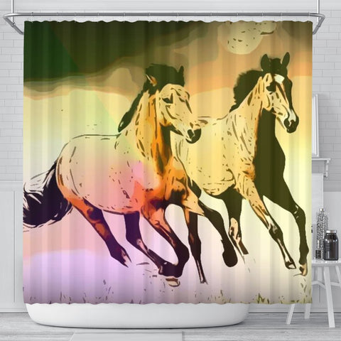 Mountain Pleasure Horse Print Shower Curtain-Free Shipping