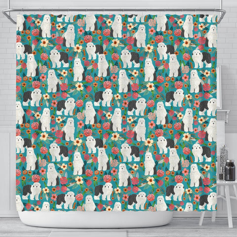 Old English Sheepdog Floral Print Shower Curtains-Free Shipping