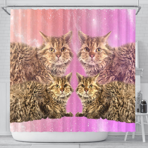 Selkirk Rex Cat Print Shower Curtains-Free Shipping