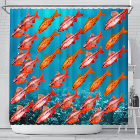Cherry Barb Fish Print Shower Curtains-Free Shipping