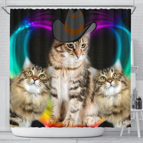 Siberian Cat With Hat Print Shower Curtain-Free Shipping