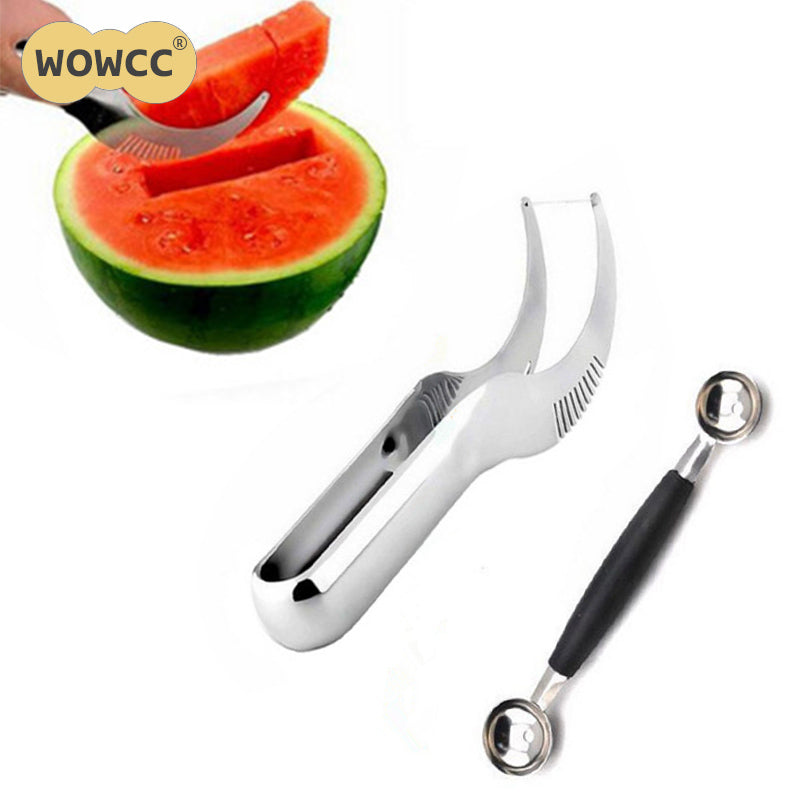 2017 Hot Sale Stainless Steel Watermelon Slicer Fruit Knife Cutter And Ice Cream Ballers Melon Scoop Double Size Spoon Set