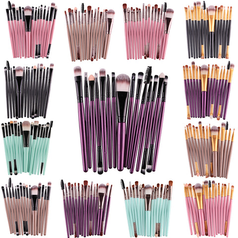 MAANGE Pro 15Pcs/Kit Makeup Brushes Set Eye Shadow Brow Eyeliner Eyelash Lip Foundation Power Cosmetic Make Up Brush Beauty Tool