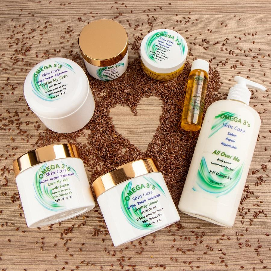 Beautiful and Natural!  Skin care products made from healthy flaxseed oil chock full of omega 3's!