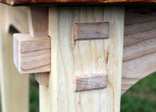 Wildwood Elm table - close up of mortise and tenon joints