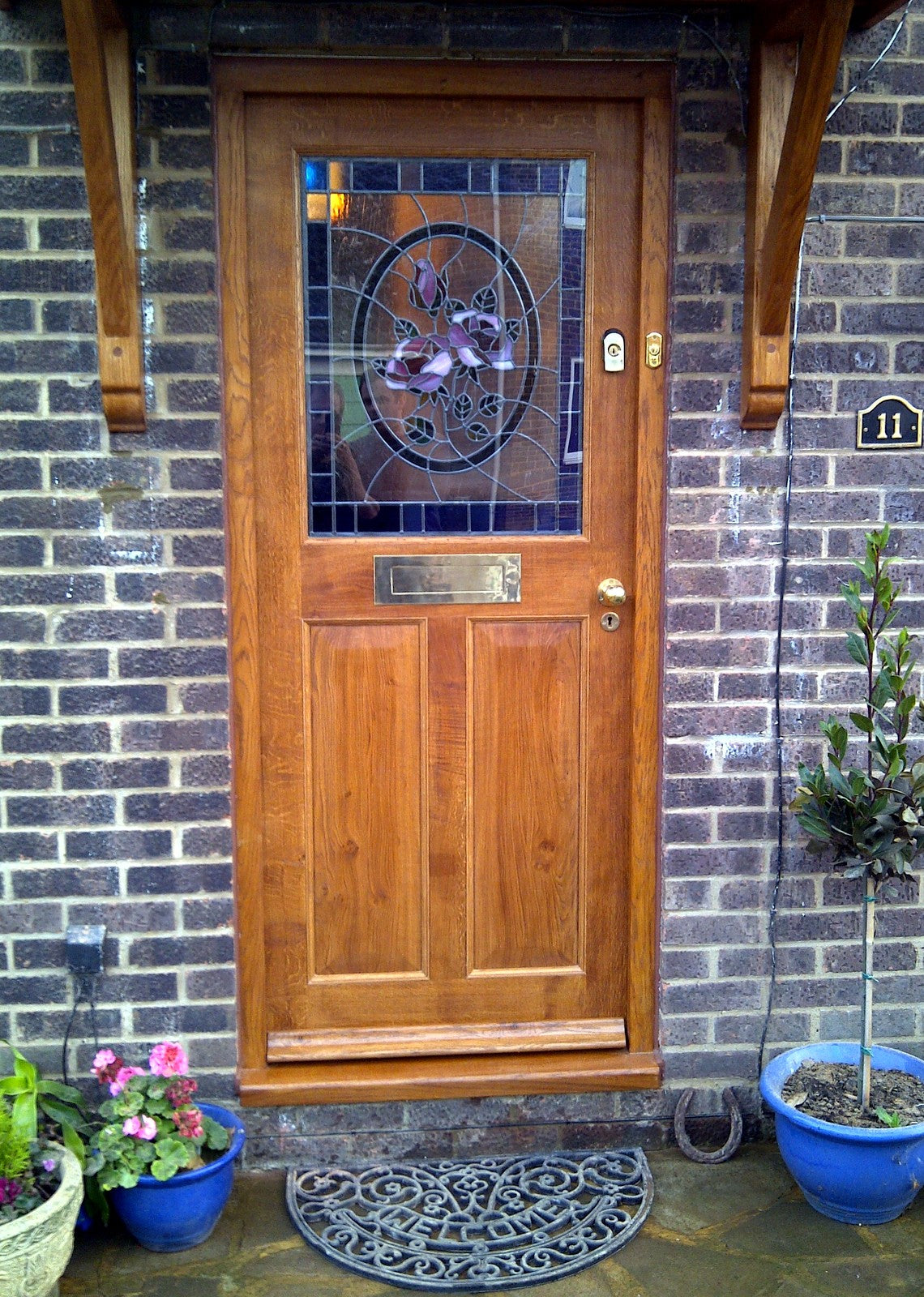 Stained Glass English Oak Front Door Grace Woodworks