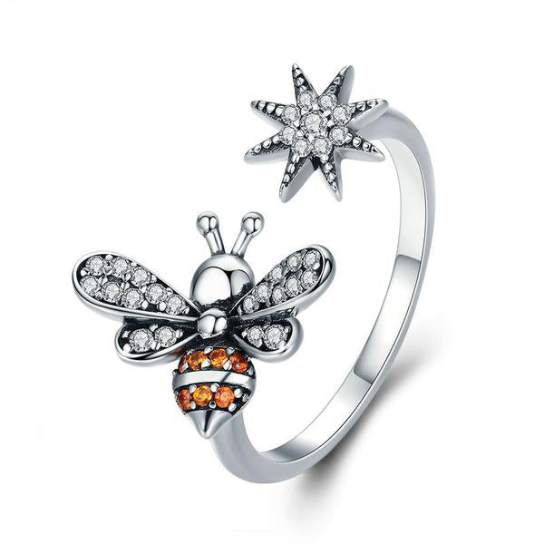 Bee with Snowflake Clear CZ