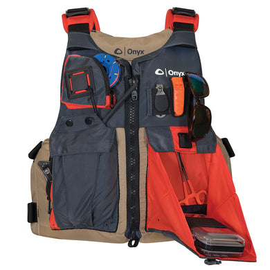 Onyx Kayak Fishing Vest - Adult Universal - Tan-Grey [121700-706-004-17]