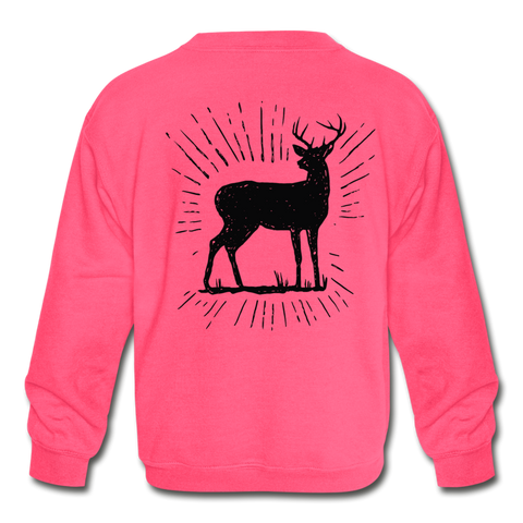 Girls Deer Crew Neck - neon pink