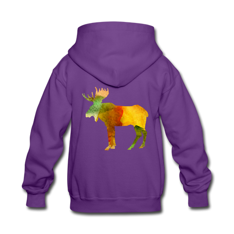 Girls Colorblock Moose Hoodie - purple