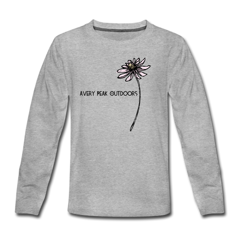Girls Flower Long Sleeve Tee - heather gray