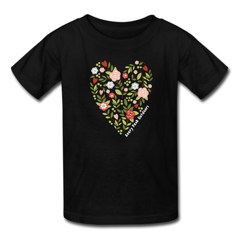 Girls Flower Heart Tee - black
