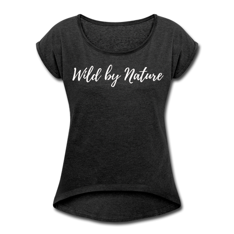Women's Roll Cuff Wild by Nature Tee - heather black