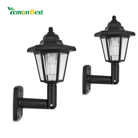 2pcs Waterproof Solar LED Wall Lamp for Outdoor Landscape