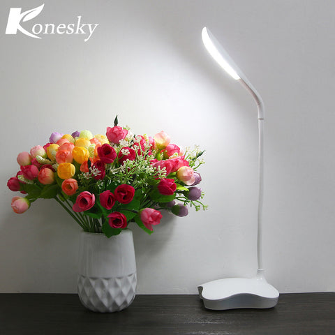 Creative LED Flexible Reading Light Clip-on Bed Table Desk Lamp LED Touch Sensor Lamp USB Rechargeable with Free Adapter
