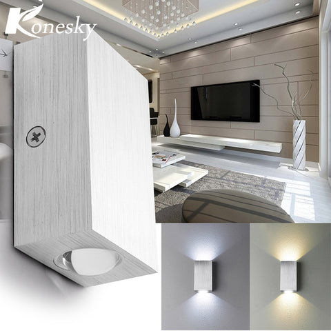 Square Led Wall Lamp Sconce Dual Head Led wall Light arandelas para parede Aluminum 2W 110V 220V KTV BAR Step Stair Foyer VR