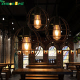 Industrial Vintage Round Cage Pendant Light Sconce Hanging Drop light