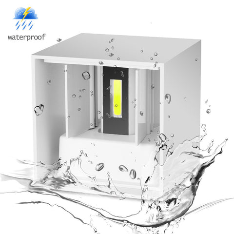 White Shell COB Cube LED Wall Lamp Waterproof IP65 7W Aluminum Light Modern Home Lighting Indoor Outdoor Decoration AC 220V