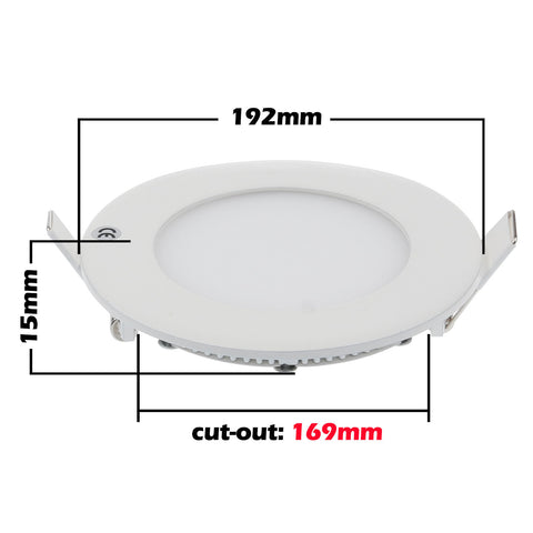 Slim 15W Recessed Round Shape LED Panel Light Warm White Lamp Downlight AC 85-265V