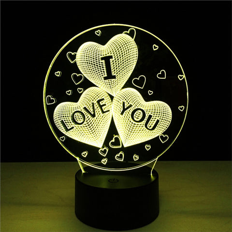 3D I Love You Lamp Visual Light Effect with Touch Switch & Remote Control