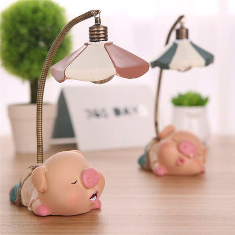 LED Pig Childrens Novelty Bedside Table Lamp