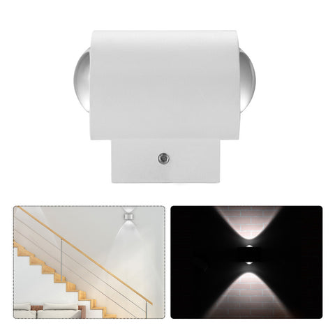 2W COB LED Wall Lamp Up and Down Wall Sconce Cool White 6000K AC 85-265V for Corridor Garden Courtyard
