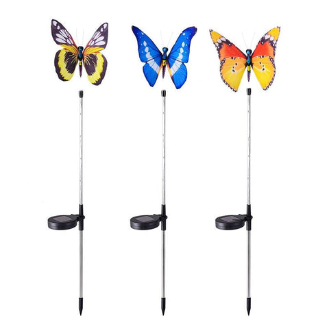 YUNLIGHTS 3pcs Butterfly Solar Powered Garden Stake Lights