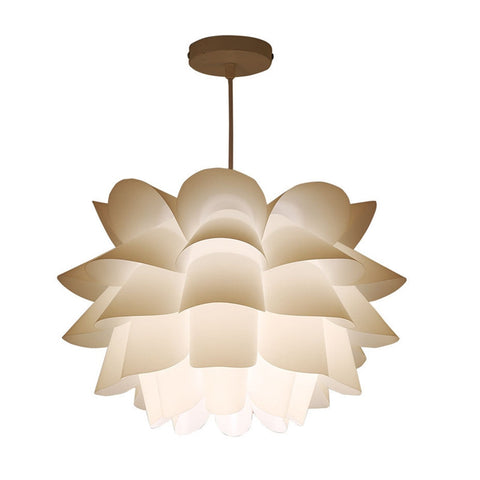 Assembly Lotus Chandelier Ceiling Pendant Lampshade DIY Puzzle Lights Modern Lamp Shade for North European Ameriacan Style Room Decoration 36cm Diameter (White)