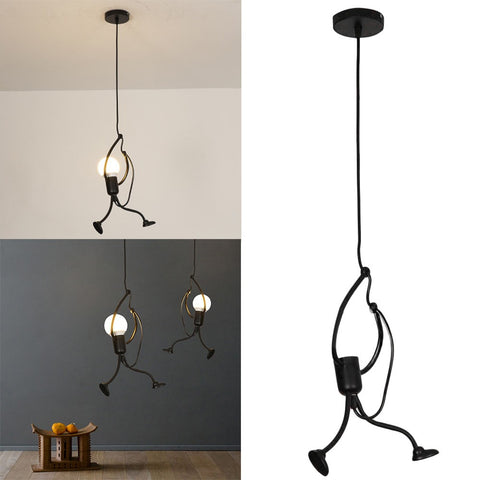 Modern Charming Hanging Chandelier Creative Iron People Lamp Elegant Hanger