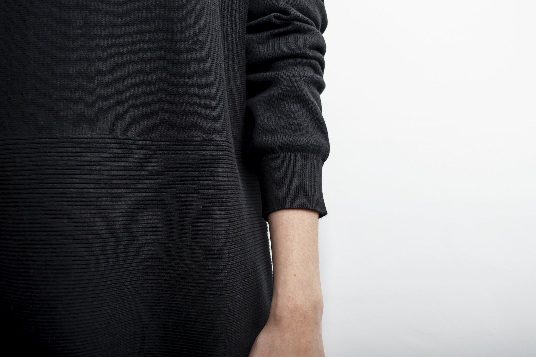 Black crew neck sweater ribbed detail