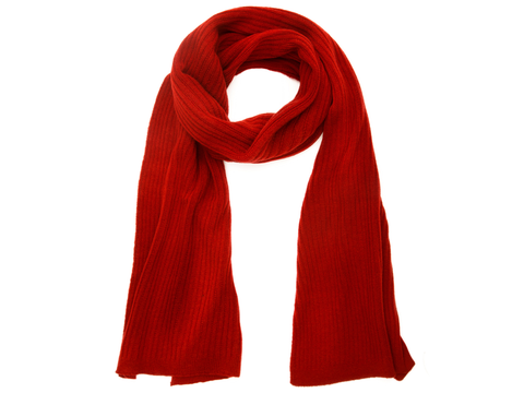 Red ribbed scarf on white background