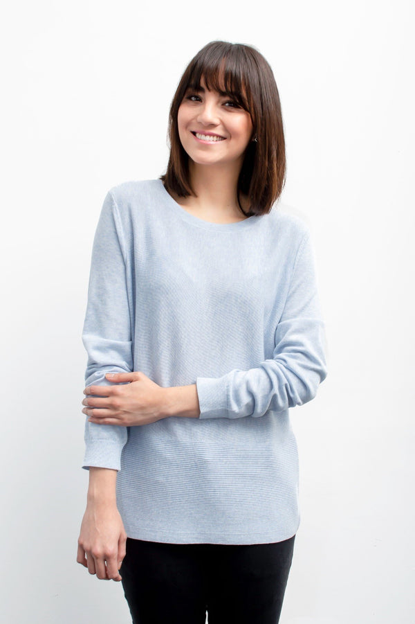 Girl wearing sky blue ribbed crew neck from Grete
