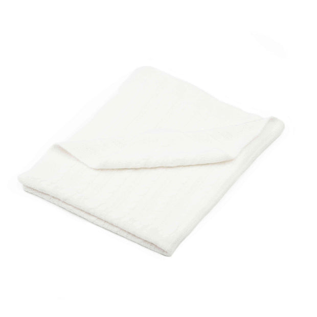 White baby blanket with a cable-knit design folded over a white background