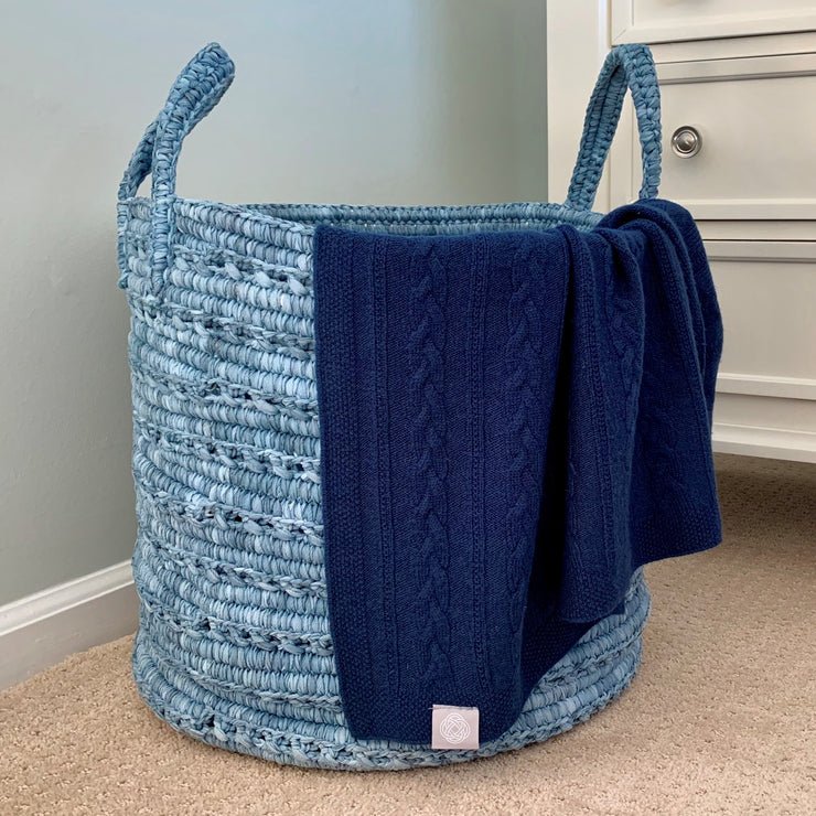 grete blue throw over basket