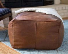 XL Camel Square Leather Pouf